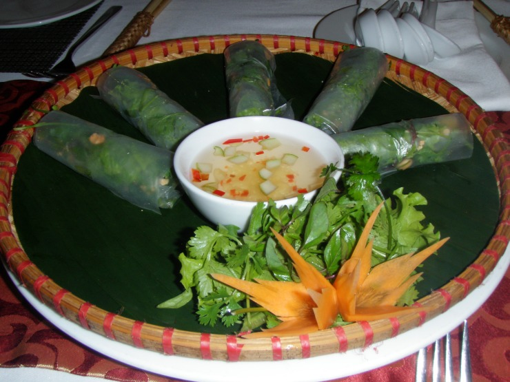 Vietnamese rice paper spring rolls Essence Cafe Hanoi