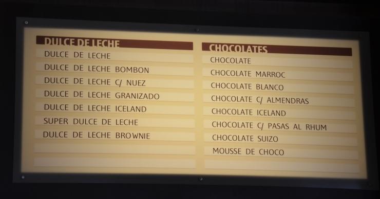 dulce de leche chocolate flavour menu choices