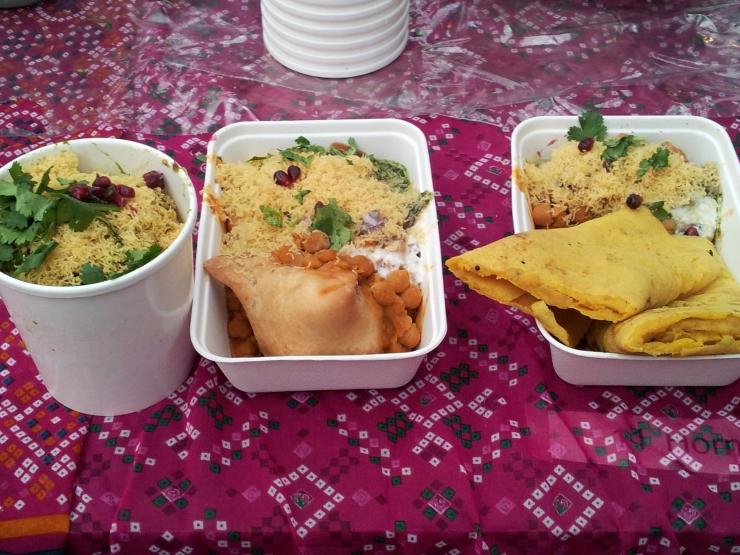 Indian street food samosa bhel puri