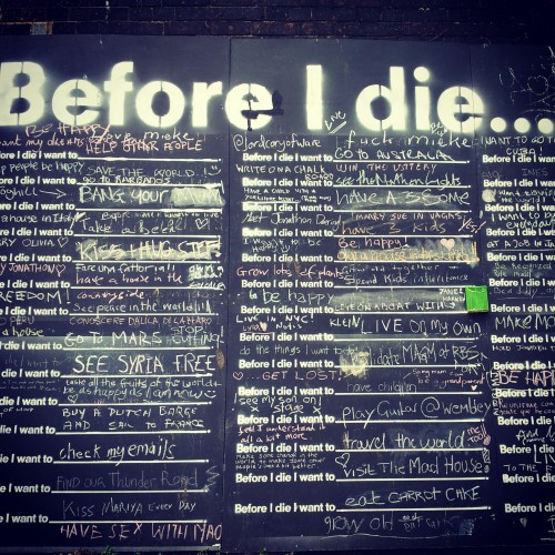 Before I die blackboard