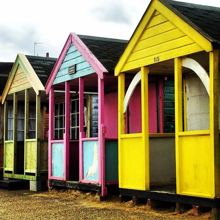 pink yellow colourful beach hut Southwold