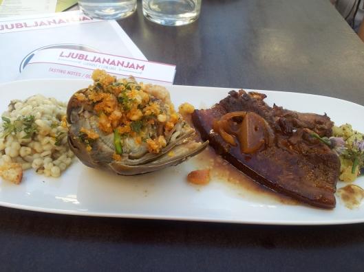 Repete bistro Ljubljana pork belly artichoke, barley risotto