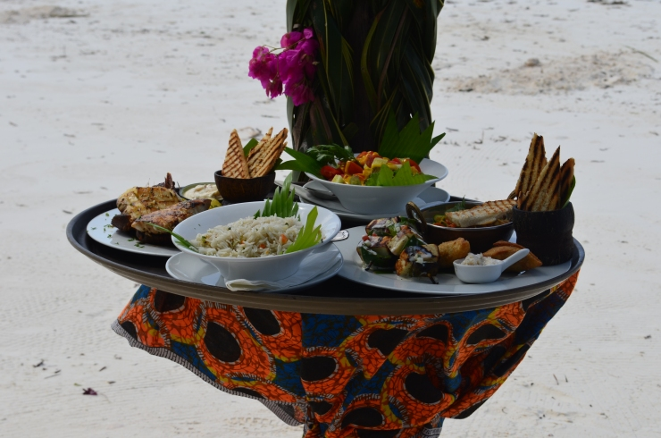 beach lunch seafood vegetarian platter Zanzibar