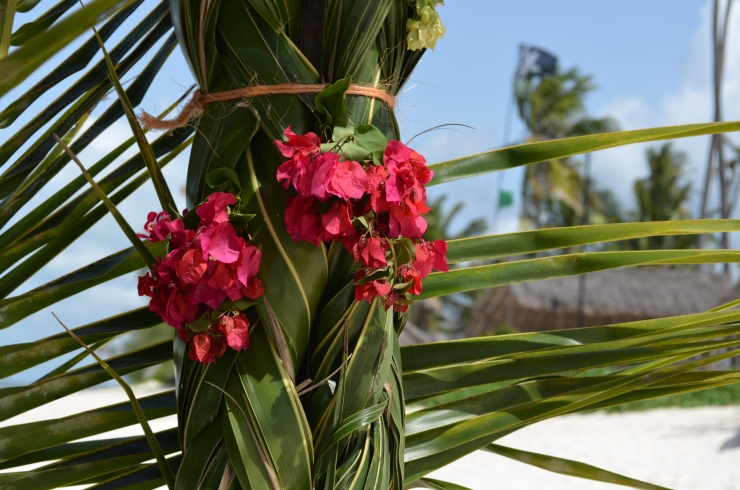 flowers palm leaves gazebo