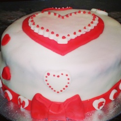 heart red hen bachelorette party cake