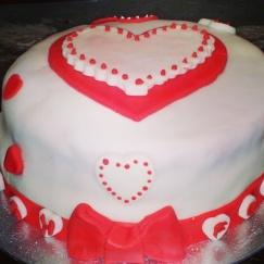 heart red hen bachelorette party cake