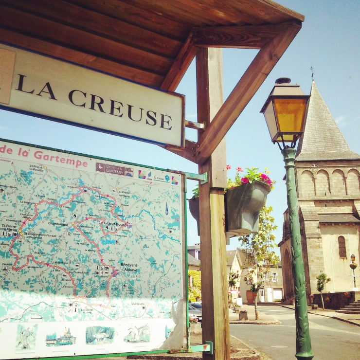 La Creuse sign abbey Benevent L'Abbaye