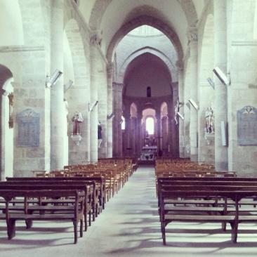 insisde interior St Barthelemy Abbey Benevent L'Abbaye