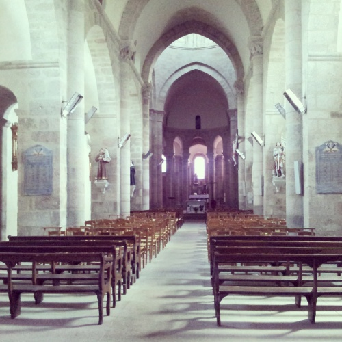 insisde interior St Barthelemy Abbey Benevent L'Abbaye