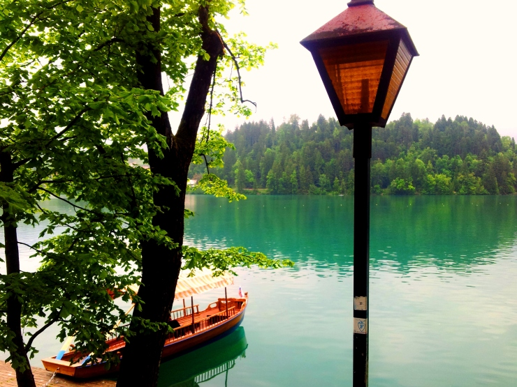 Lake Bled lamppost boat view