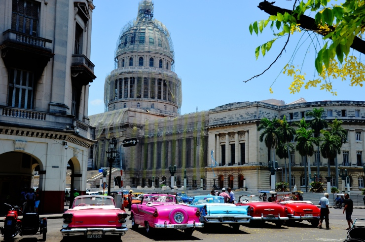 Capitol Building vintage cars Havana