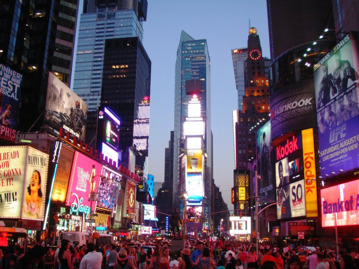 Times Square New York City night light view