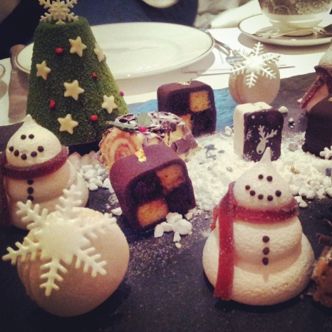 Christmas snowman pastries afternoon tea London