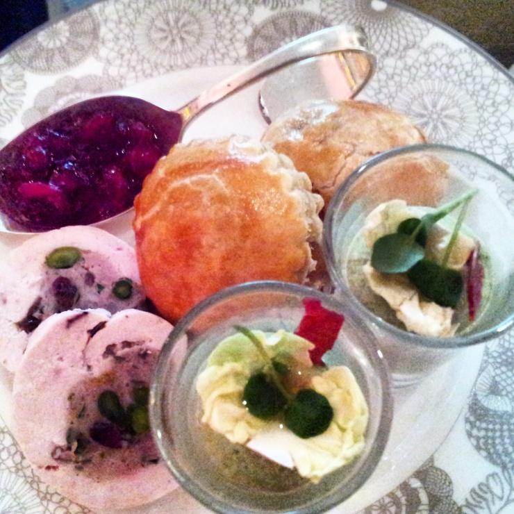 Brussels sprout mousse, Turkey Ballotine, Venison puff Christmas afternoon tea London