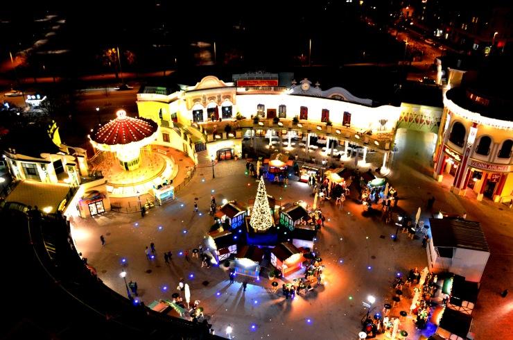 Prater park funfair night view Christmas