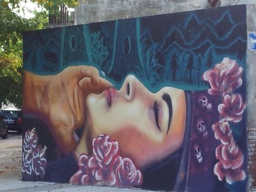 Buenos Aires pink purple head piece street art