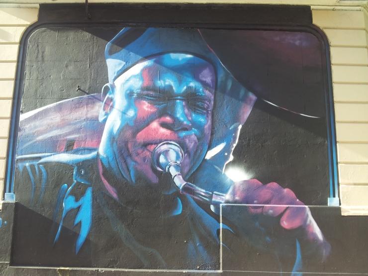Buenos Aires street art saxophonist portrait