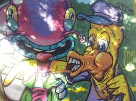 cartoon style mural street art Argentina