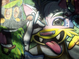 cartoon wall mural street art Buenos Aires