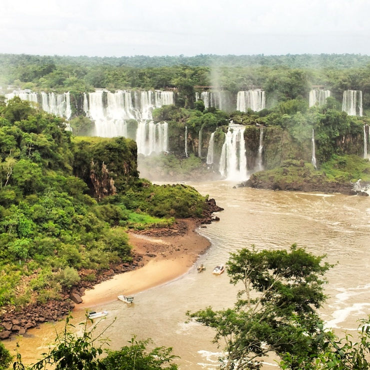 Iguazu Falls view Brazil side panorama