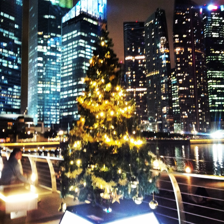 Christmas tree Singapore skyscraper Marina Bay Sands