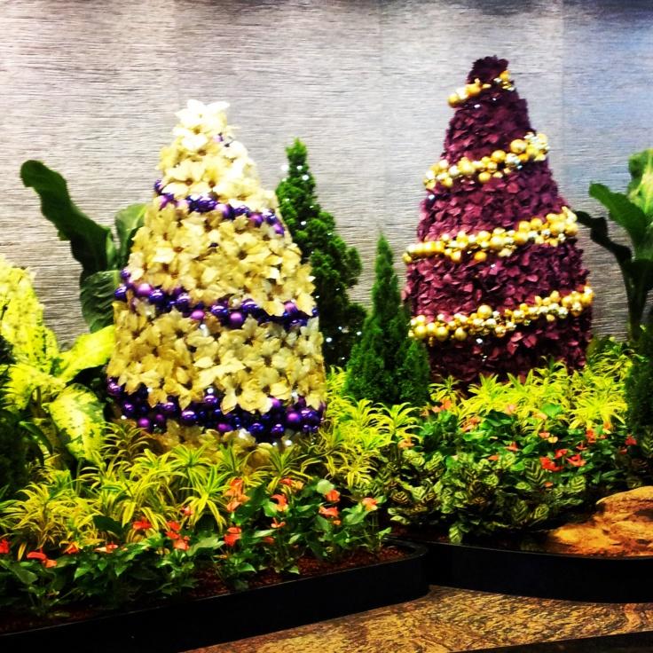 Christmas tree topiary display Changi airport