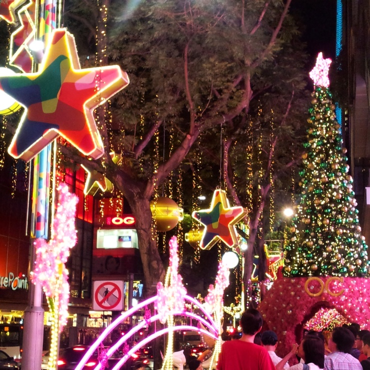 festive Christmas street lights Singapore
