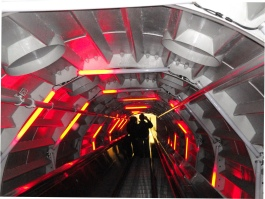 architecture escalator inside Atomium Brussels