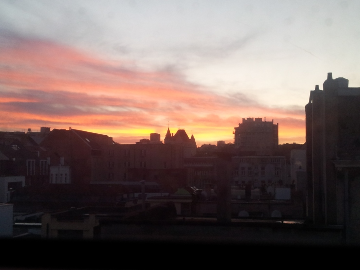 sunrise Brussels view from hotel room Park Inn