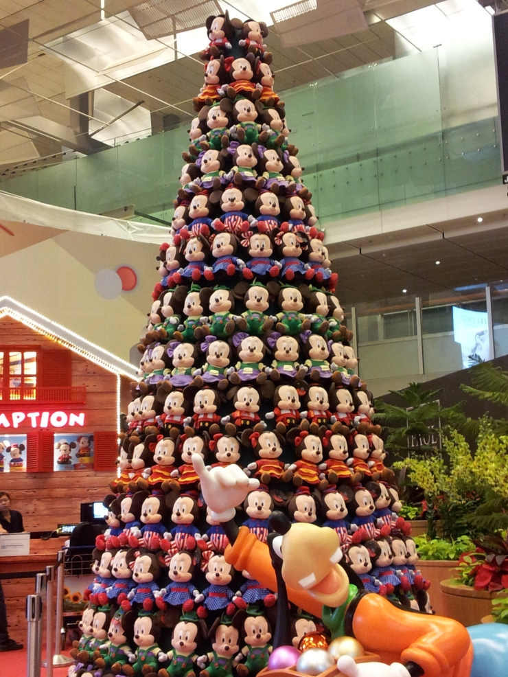 soft cuddly toy Disney Christmas tree Changi Airport Singapore