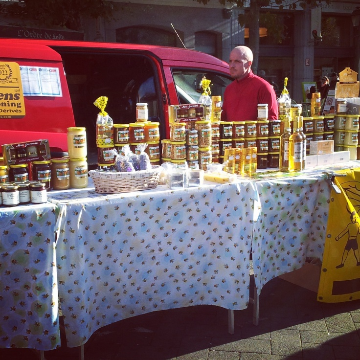honey stall weekend food market Brussels
