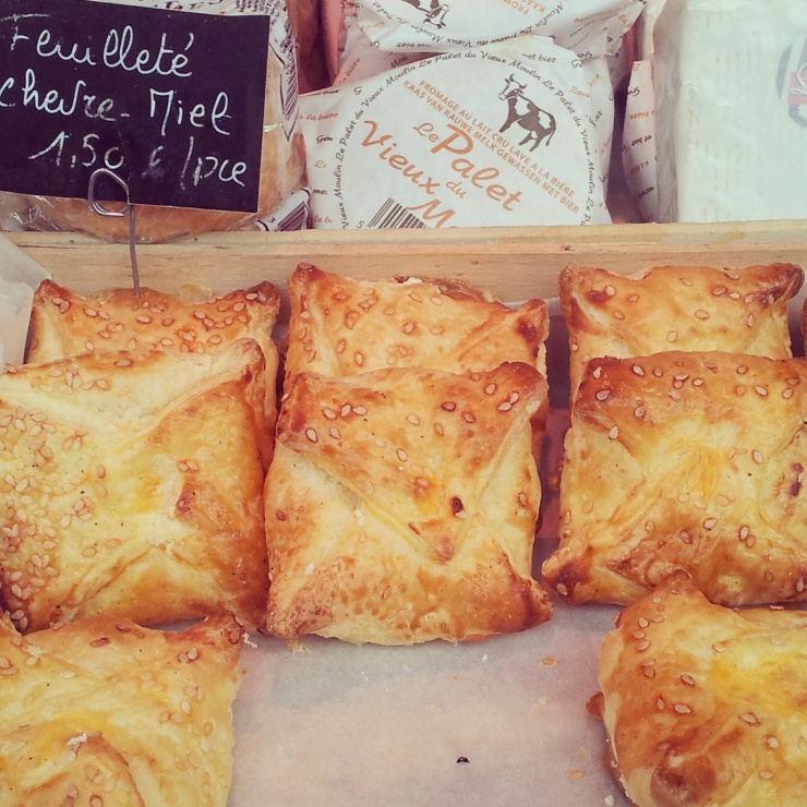 goat's cheese honey pastry parcel Place Jourdan Farmer's Market Brussels