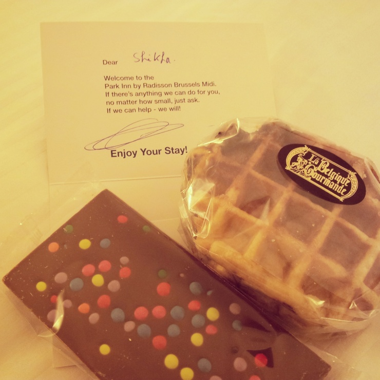 Park Inn Express Brussels welcome gift chocolate waffle