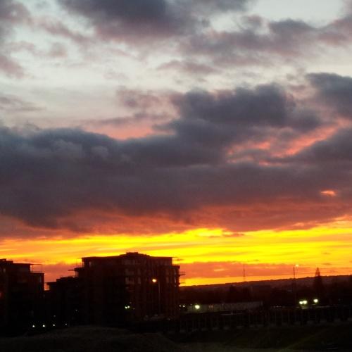 December London fiery sunset