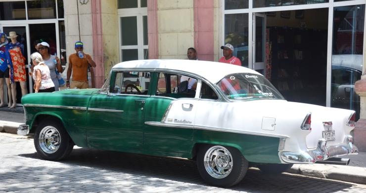 green vintage car Cuba