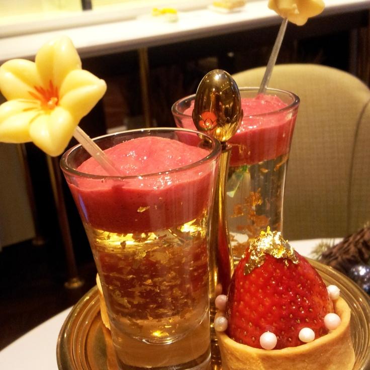 champagne jellly raspberry foam