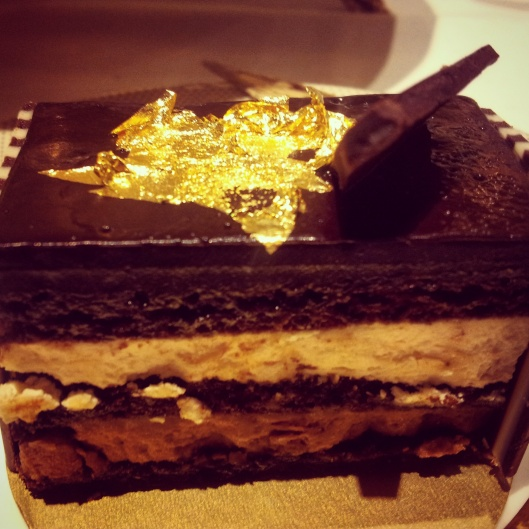 chocolate opera cake gold leaf 24 karat gold afternoon tea