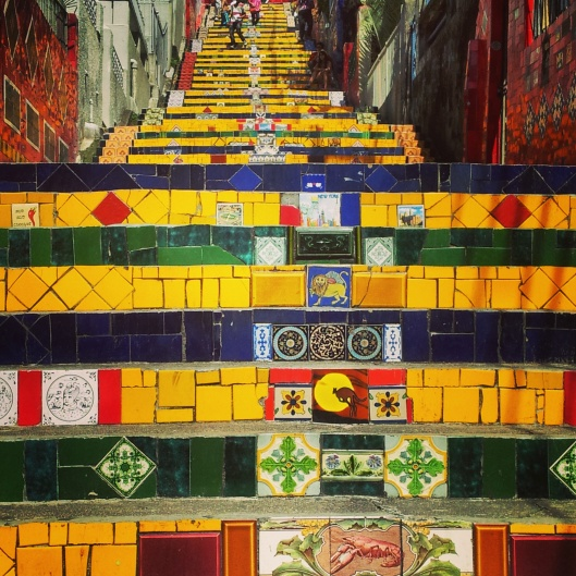colourful Selaron stairs Rio Brazil