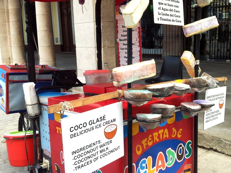 ice cream stall coconut shell Havana
