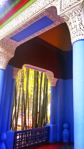 blue arch Marjorelle gardens Marrakech