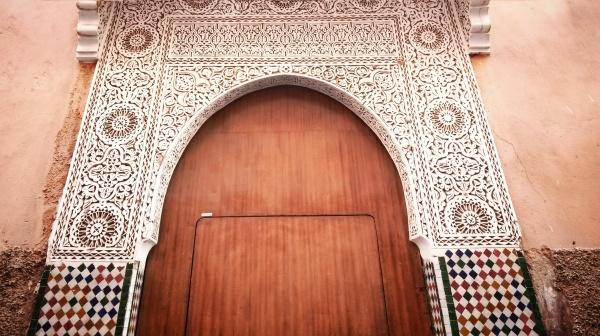 wooden arch door Marrakech