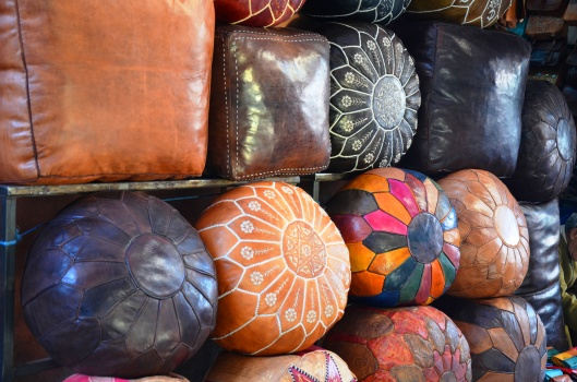 leather beanbags marrakech souks