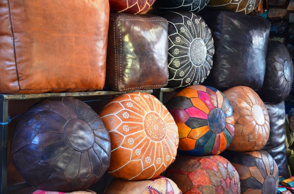 leather beanbags marrakech souks