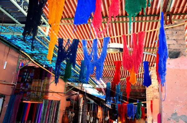 dyed fabrics Marrakech souks