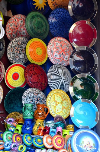 plates Marrakech market souk stalls