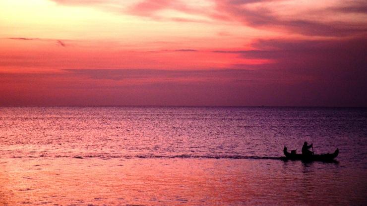 pink sunset Jimbaran Bay Bali