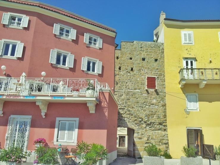 colourful buildings Piran