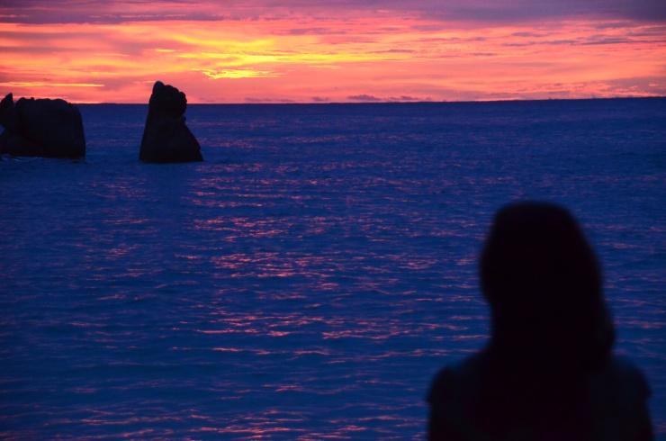 pink sunset Seychelles island Praslin