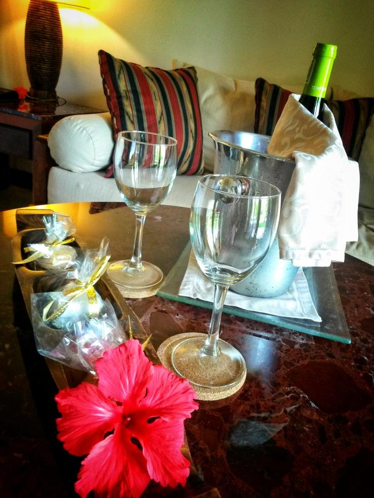 wine in room Seychelles hotel