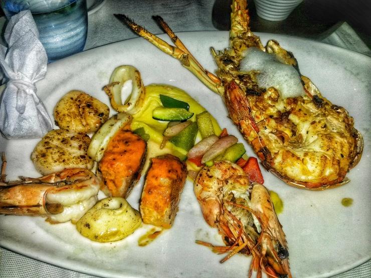 lobster dinner on the rocks Seychelles